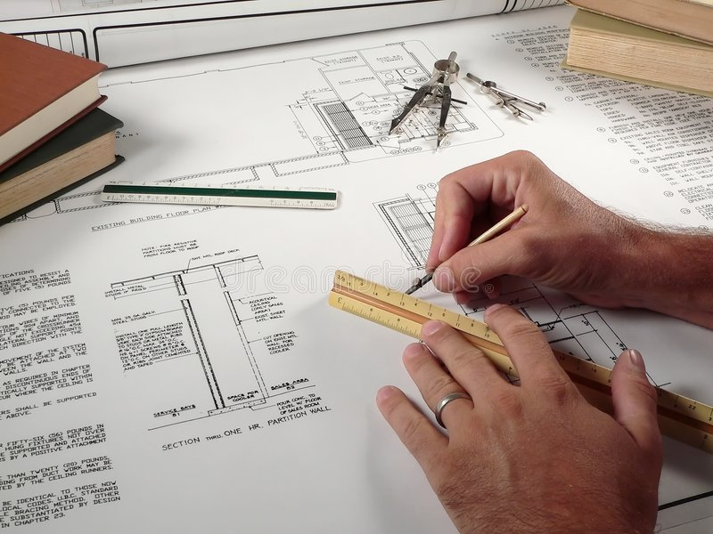 Architect at Work stock image. Image of plans, engineering ...