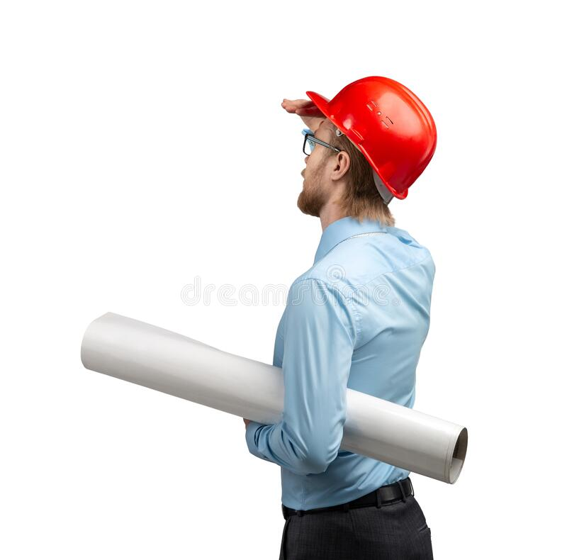 Architect worker or engineer man in red construction helmet stock photo