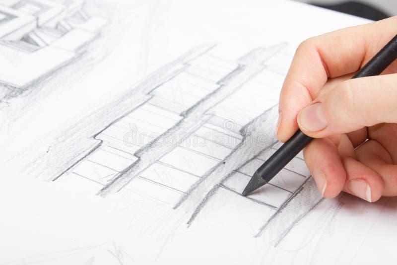 Architect Working On Blueprint Architecten royalty-vrije stock afbeelding