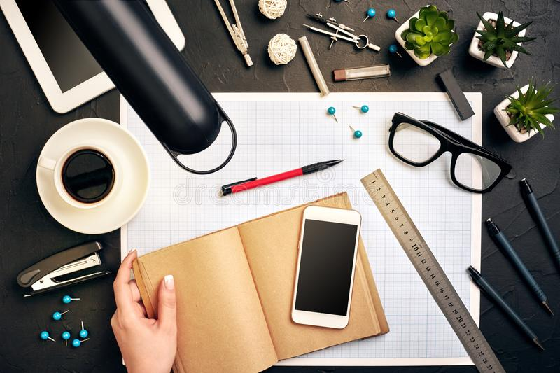 Architect working on blueprint. Architects workplace - architectural project, blueprints, tablet pc. Engineering tools stock images