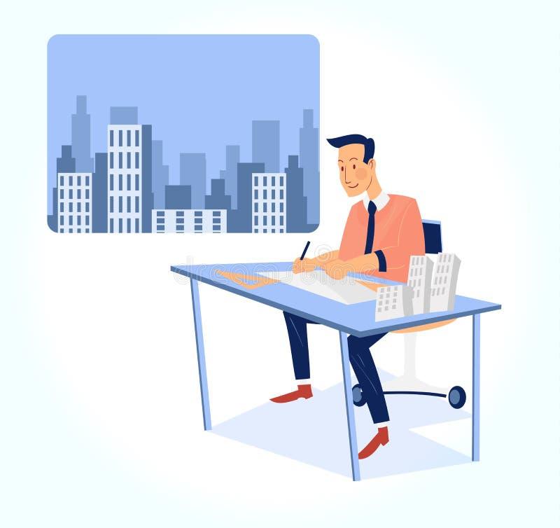 Architect working on blueprint vector illustration stock illustration