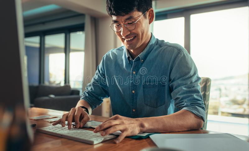 Architect working in his office stock images
