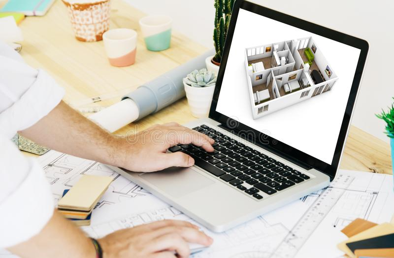 architect working with laptop cad stock photos