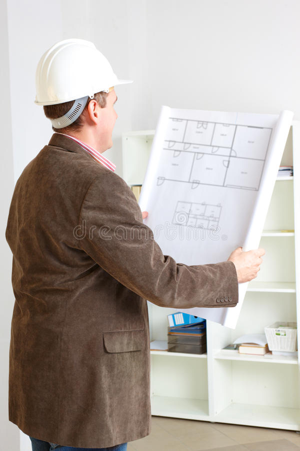 Architect Working With Plan Royalty Free Stock Photos