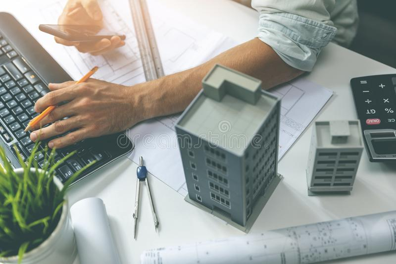 Architect workplace - working on new house project in office royalty free stock photos