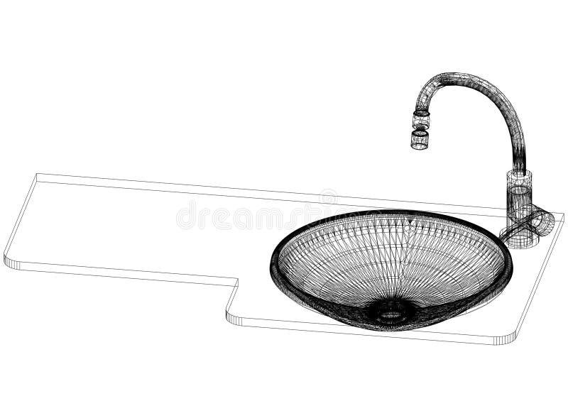 Architecte Blueprint d'évier et de robinet - d'isolement illustration libre de droits