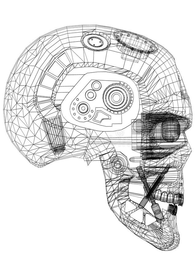Architecte Blueprint de conception de tête de robot - d'isolement illustration stock