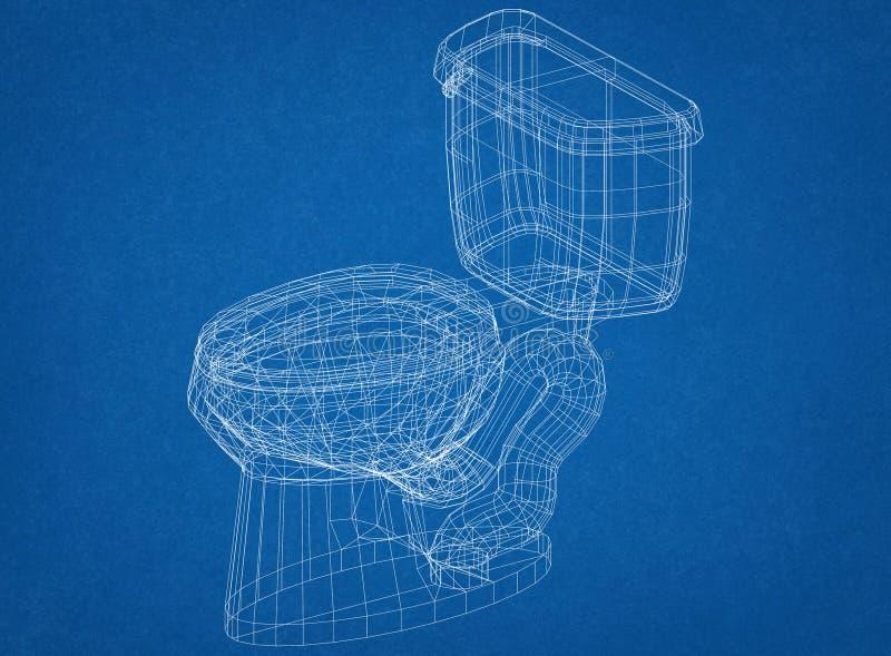 Architecte Blueprint de conception de toilette illustration stock
