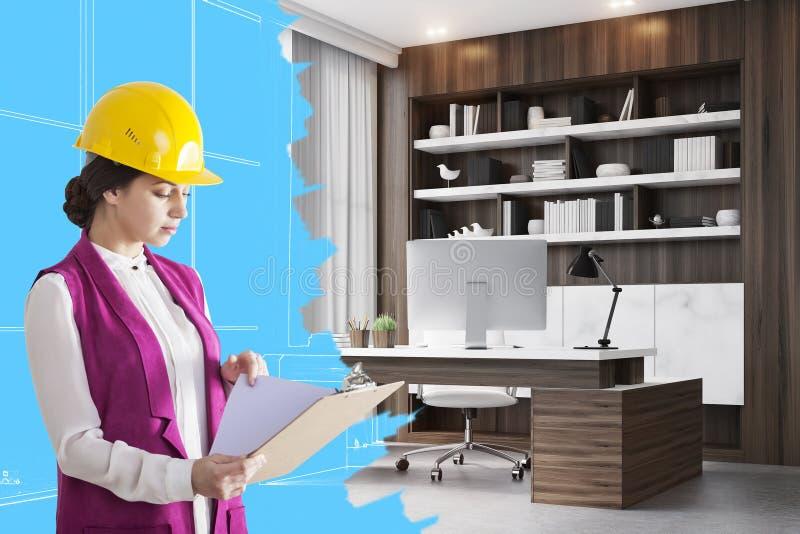 Architecte de femme dans la chambre de Président illustration stock