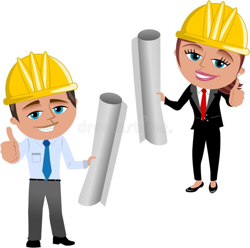 Architecte de femme et d'homme avec le pouce  illustration de vecteur