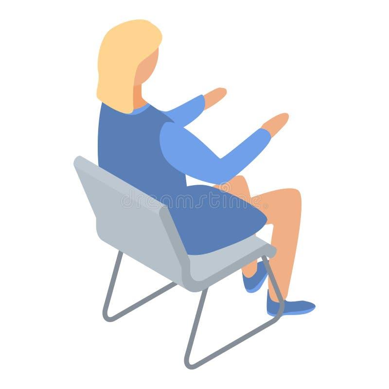 Architecte de femme sur l'icône de chaise, style isométrique illustration stock