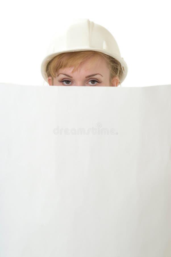 Architecte de Madame supportant les croquis de mise au point photographie stock libre de droits