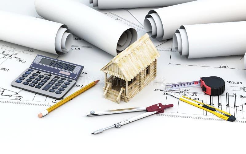Architecte de projet d'ingénierie avec les outils et la maison en bois illustration libre de droits