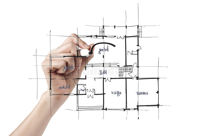 Architecte dessinant une maison image libre de droits