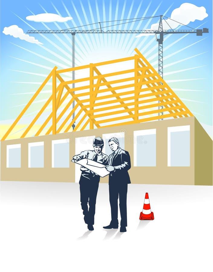 Architecte et maison de constructeur illustration stock