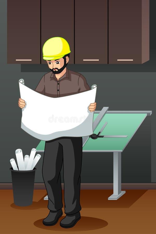 Architecte Looking à l'illustration de modèle illustration stock