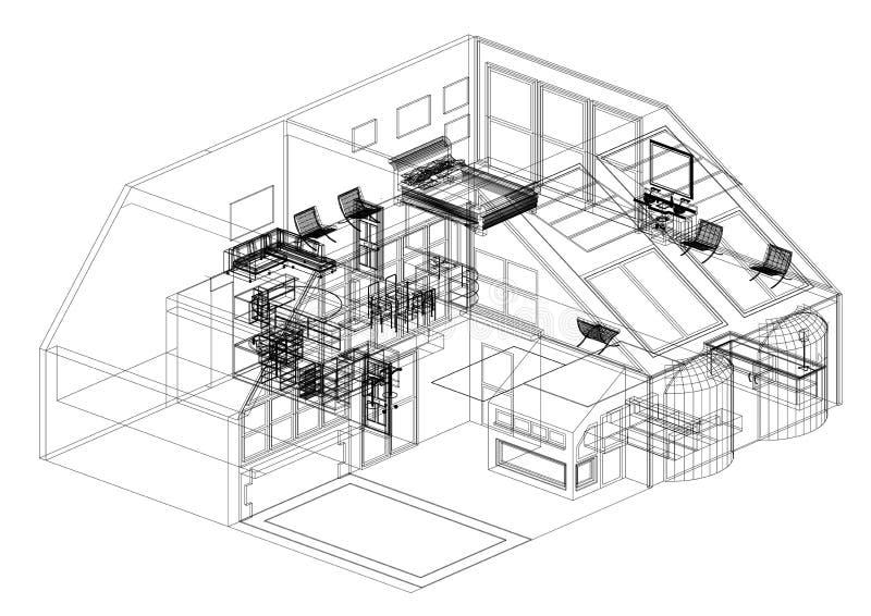 Architecte moderne Blueprint de conception de Chambre - d'isolement illustration libre de droits