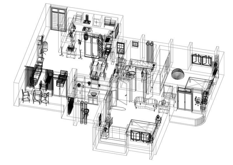 Architecte moderne Blueprint de plan d'appartement - d'isolement illustration libre de droits