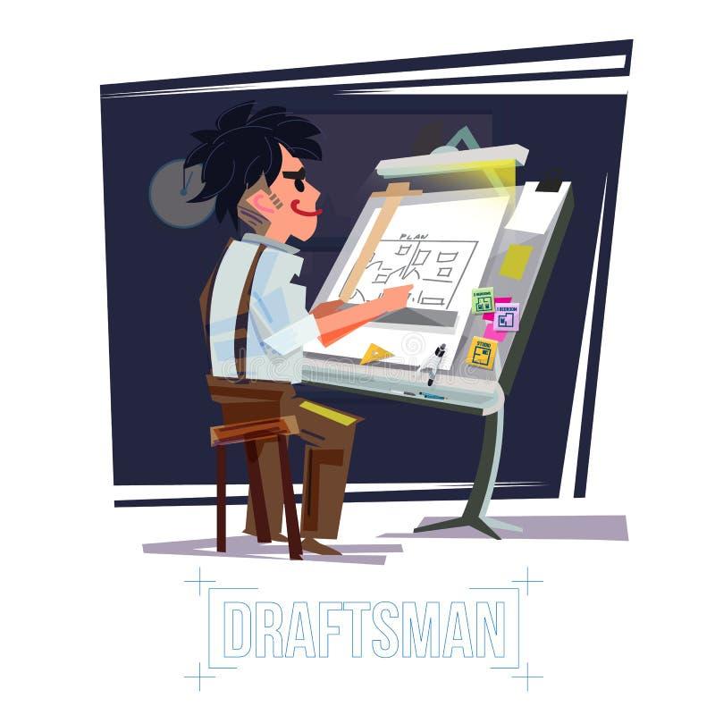 Architecte travaillant au bureau conception de personnages de rapporteur vieux drafs illustration stock