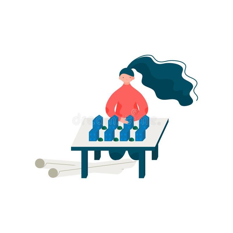 Architecte Working sur Design mod?le de construction, ing?nieur professionnel f?minin Character Vector Illustration de femme illustration de vecteur