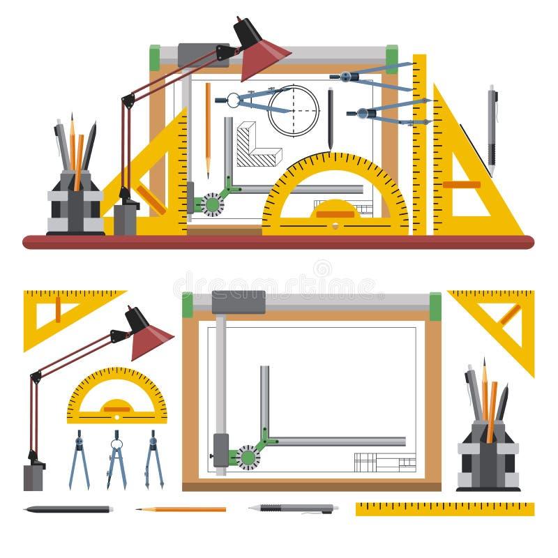 Architecten en ontwerperwerkplaats vectorillustratie in vlakke stijl Tekeningshulpmiddelen, raad, instrumenten op wit stock illustratie