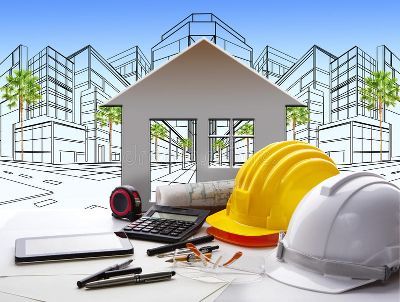 Architecten werkende lijst met bouwnijverheid en ingenieur royalty-vrije stock foto's