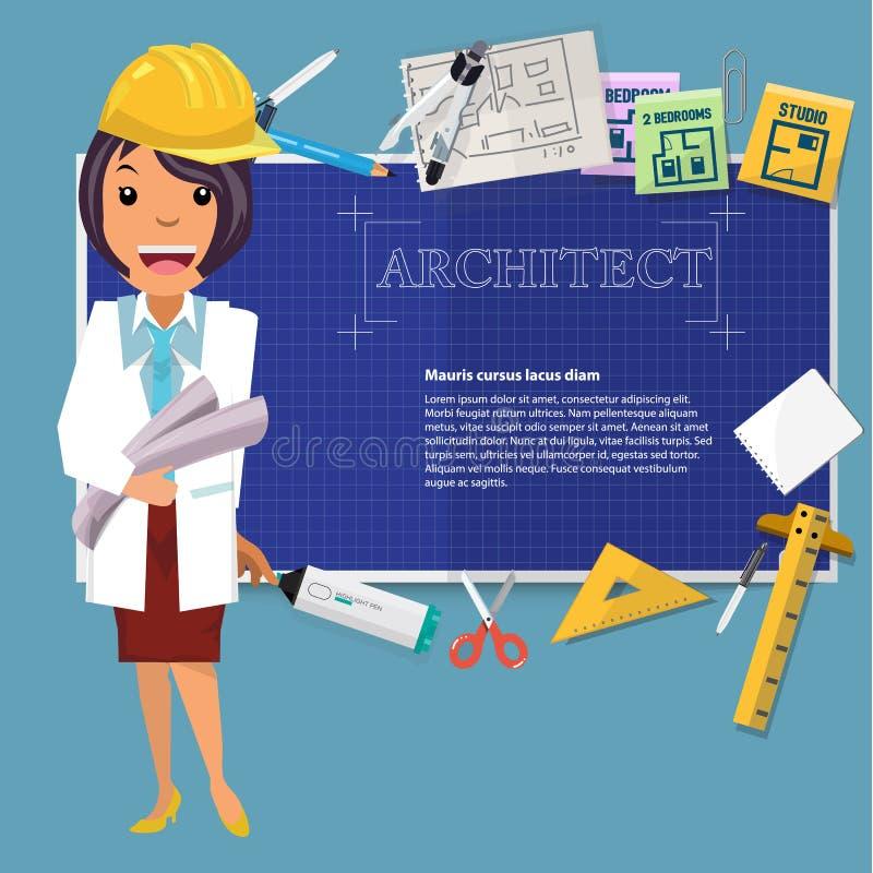 Architectenmeisje met blauwdrukdocument en pictogram aan presentatie vector illustratie