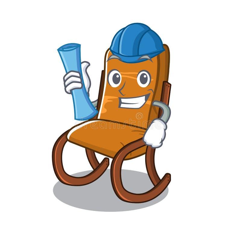 Architectenschommelstoel in het karakter wordt geïsoleerd dat royalty-vrije illustratie