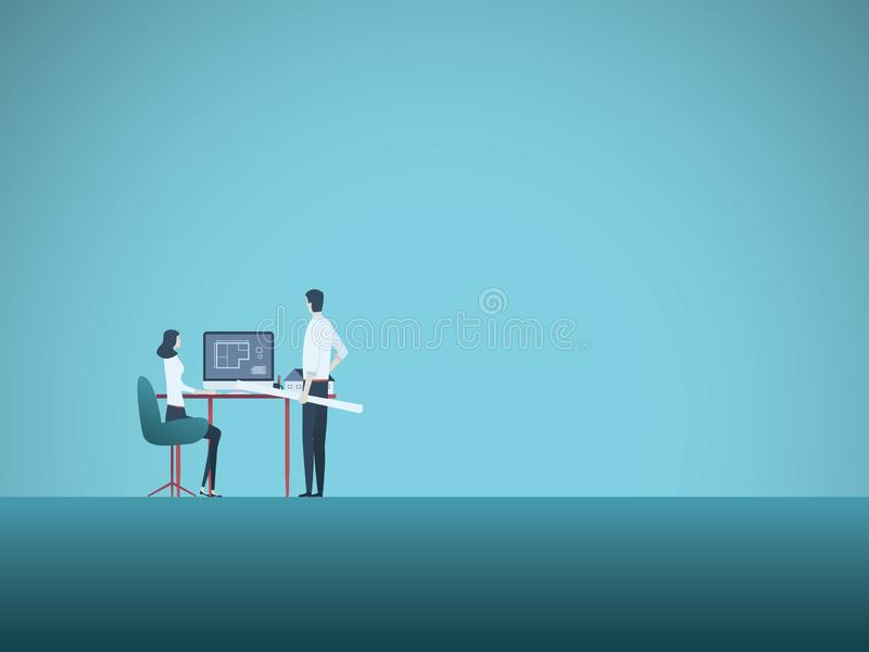 Architectenteam met vrouw en de mens die project vectorbeeldverhaal bespreken Professionele architecten en bouw op het werk vector illustratie