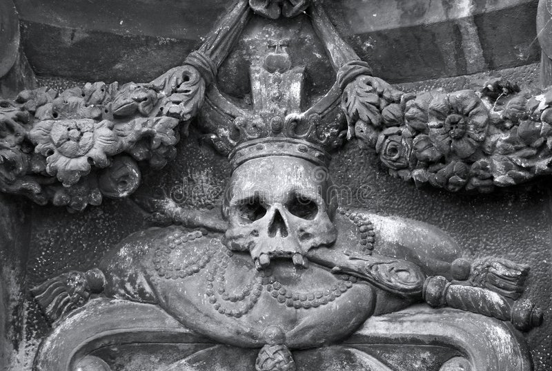 Architectonic detail. With the skull stock photography