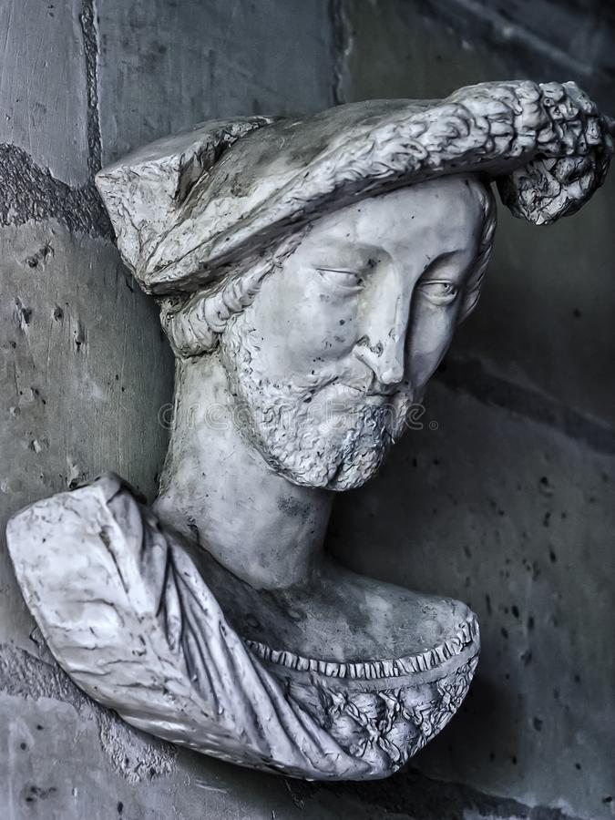 Architectonic detail with a portrait of Francis I of France stock images