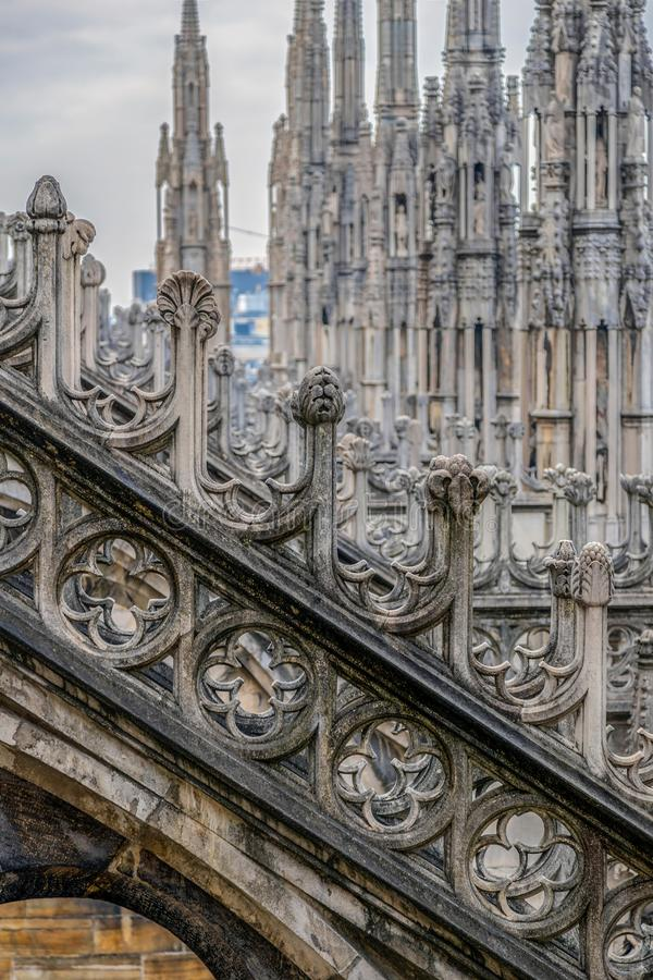 Architectonic details of the Milan Cathedral royalty free stock image
