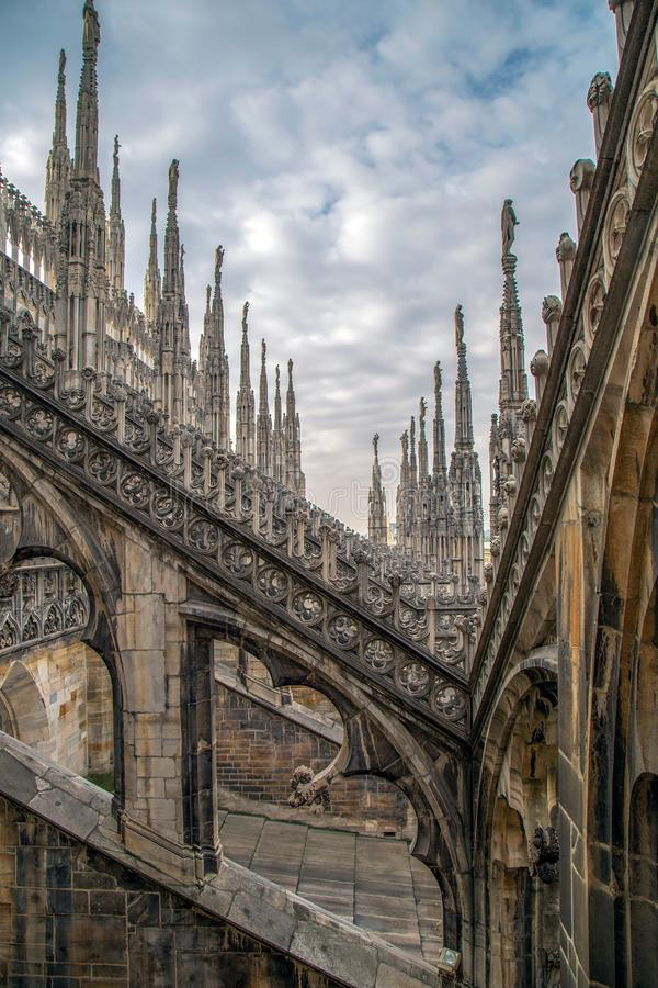Architectonic details of the Milan Cathedral stock image