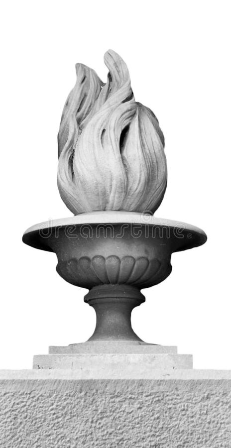 Architectonic flame decoration on a white background royalty free stock images