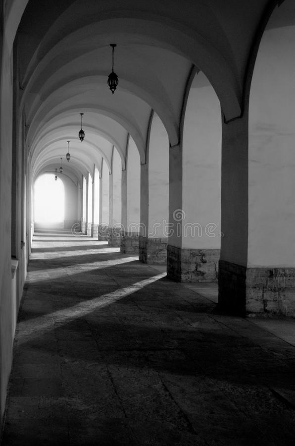 Architectonic gallery. In an old town royalty free stock photo