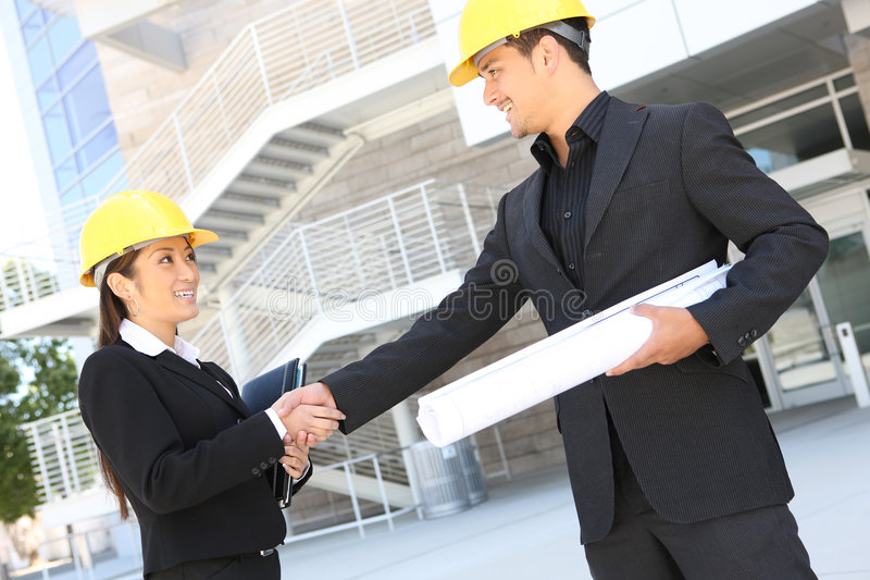 Architects on Construction Site stock photo