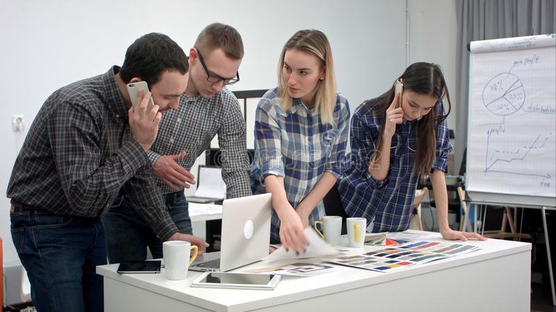 Architects and designers working in the office royalty free stock photos