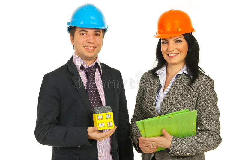 Download Architects Holding Home And Folders Stock Photo - Image of constructors, businesswoman: 23473706