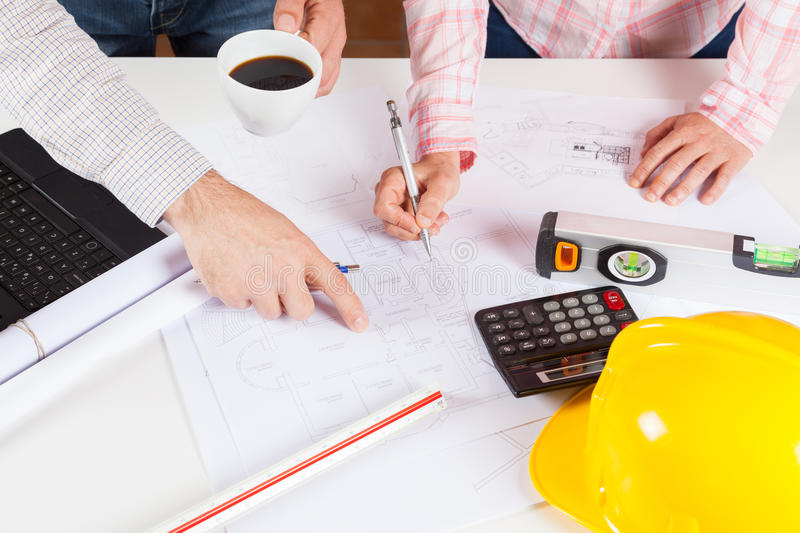 Architects met with planes stock images