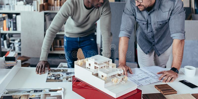 Architects preparing new housing project stock photos