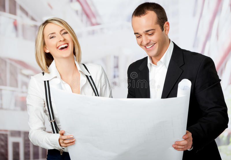 Architects smiling royalty free stock photo
