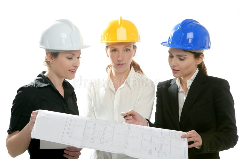 Architects woman working, isolated at studio stock image