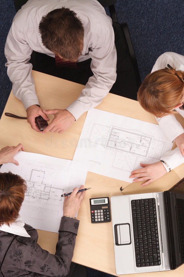 Download Architects Working With Blueprints Royalty Free Stock Photography - Image: 3606967