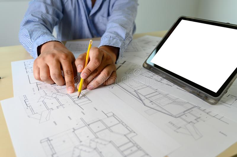 Architects working laptop  interior Architect workplace Construction concept tools. R stock photography