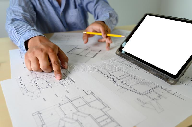 Architects working laptop  interior Architect workplace Construction concept tools. Architects working laptop interior Architect workplace Construction concept stock photo