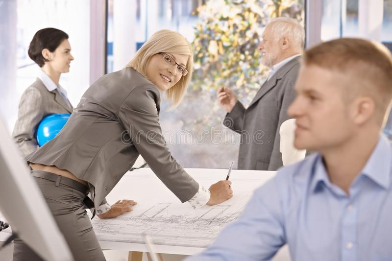 Architects working in office royalty free stock image