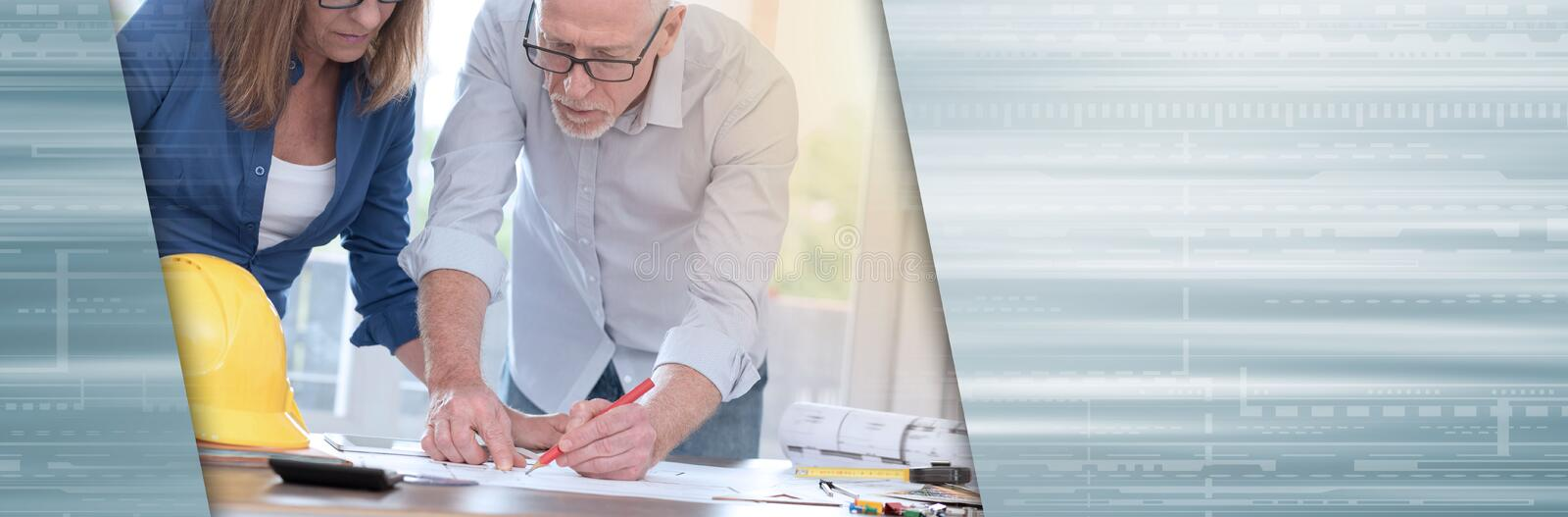 Architects working on plans, light effet; panoramic banner stock images