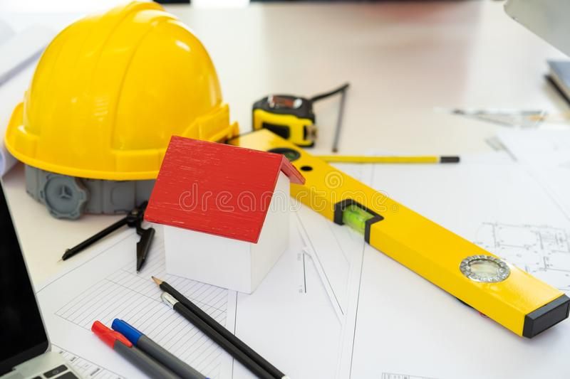 Architects workplace building construction. Planning project royalty free stock image