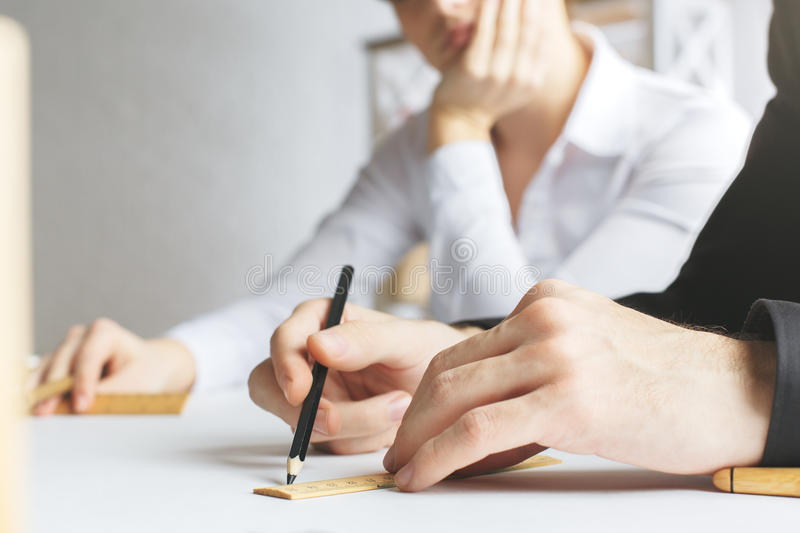 Architects at workplace royalty free stock image