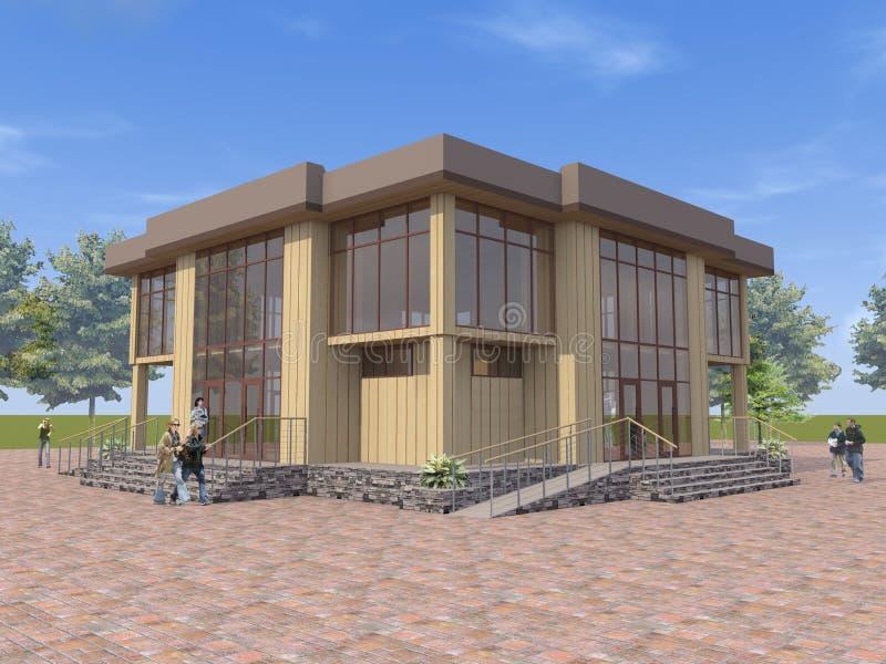 Architecturaal 3D project, visualisatie van een openbaar gebouw, concept een openbare functie vector illustratie